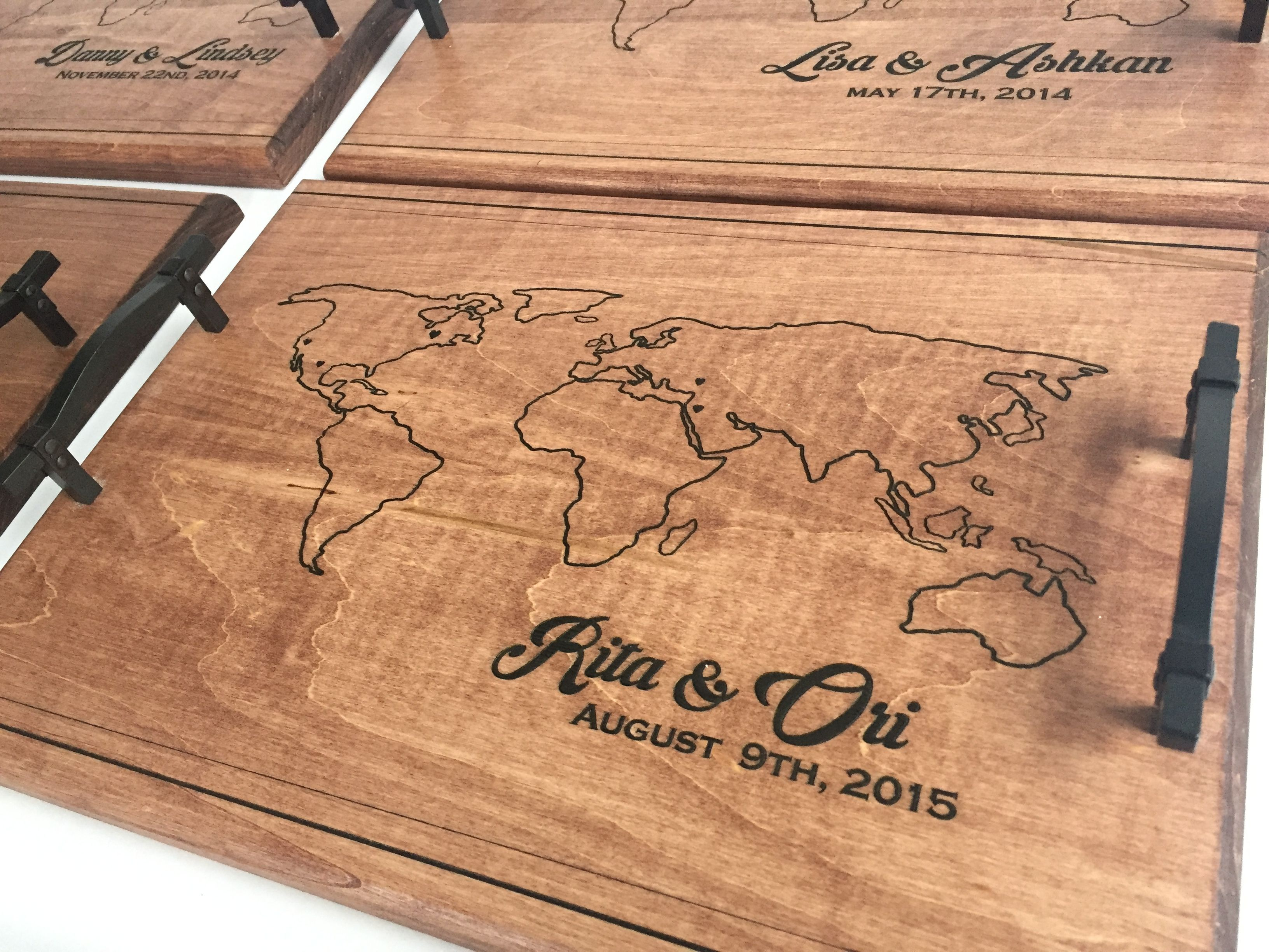 Wood Engraved Serving Tray Personalized Wedding Breakfast In Bed World Traveling Gift International