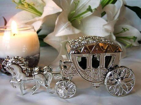 Pack of 6 silver horse and carriage wedding favour boxes table pack of 6 silver horse and carriage wedding favour boxes table accessories ebay junglespirit Choice Image