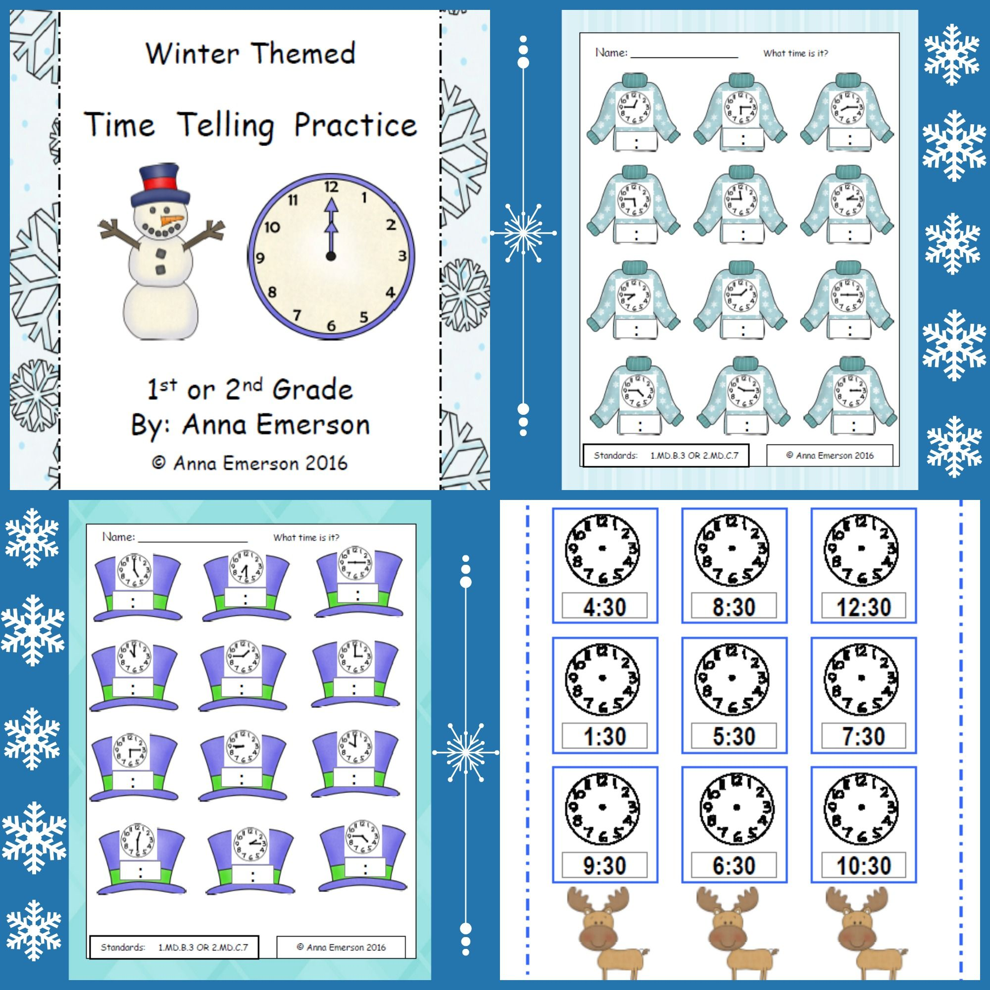 Time: Hour, Half-Hour, and Quarter-Hour: Winter Themed | Telling ...