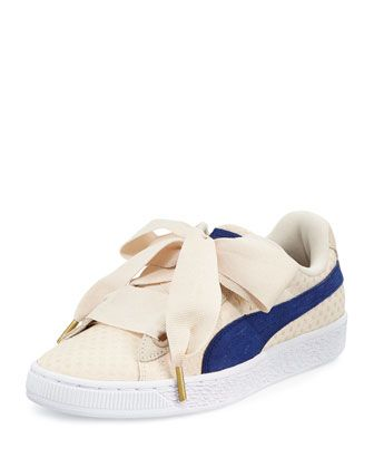Puma Basket Heart Platform Sneaker, Oatmeal/Twilight