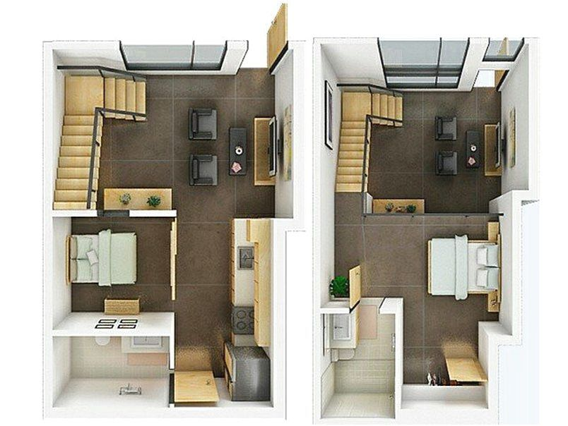 Denah Rumah Minimalis 2 Lantai 2 Kamar Tidur Terbaru 3D