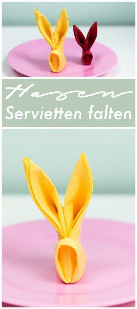 DIY Hasen Servietten falten #serviettenfalten Oster DIY - Hasen Servietten falte #serviettenfalten