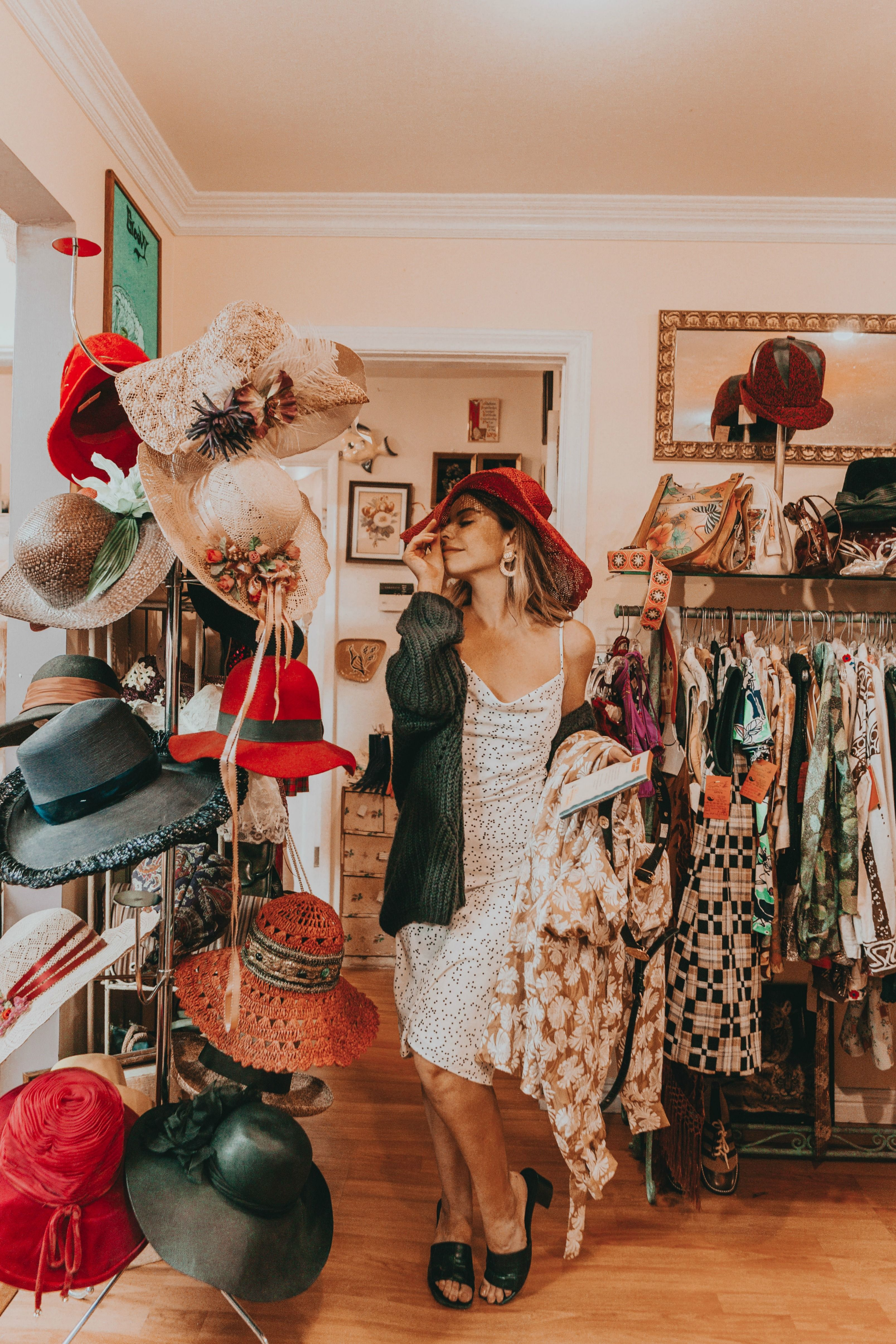 Polka Dot Dress Styled In Vintage Store Vintage Clothing Stores Thrift Store Fashion Thrift Store Outfits