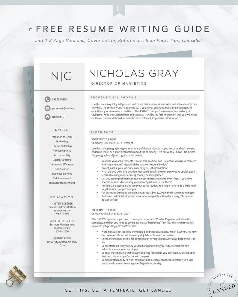 Director Resume Template For Word And Pages Free Cover Etsy In 2021 Resume Template Resume Design Template Resume Template Professional