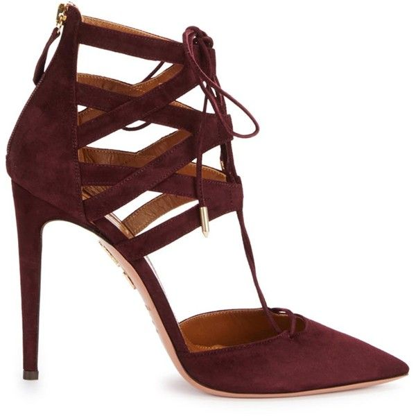 Aquazzura Belgravia Dark Burgundy Suede Pumps (815 BRL) ❤ liked on Polyvore featuring shoes, pumps, heels, high heels, sapatos, zip shoes, high heel shoes, lace up shoes, pointed toe high heel pumps and aquazzura shoes