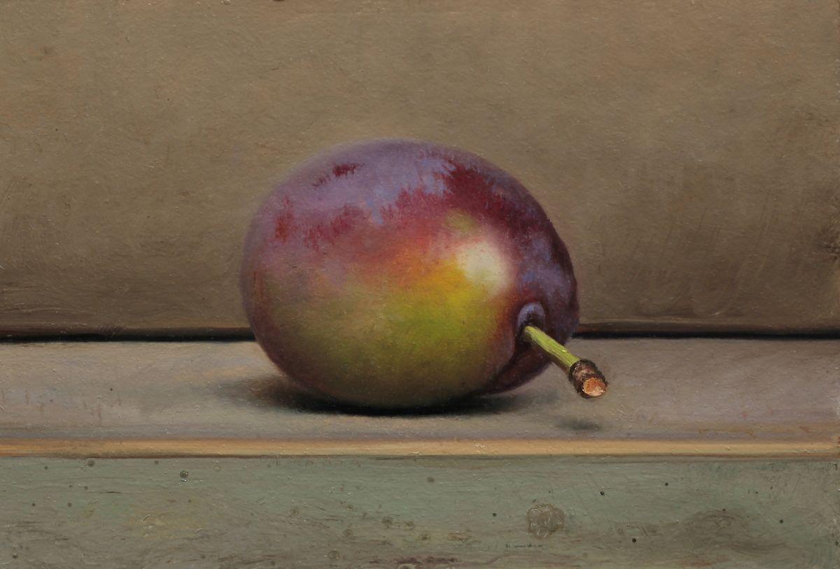 Still life with green/purple plum