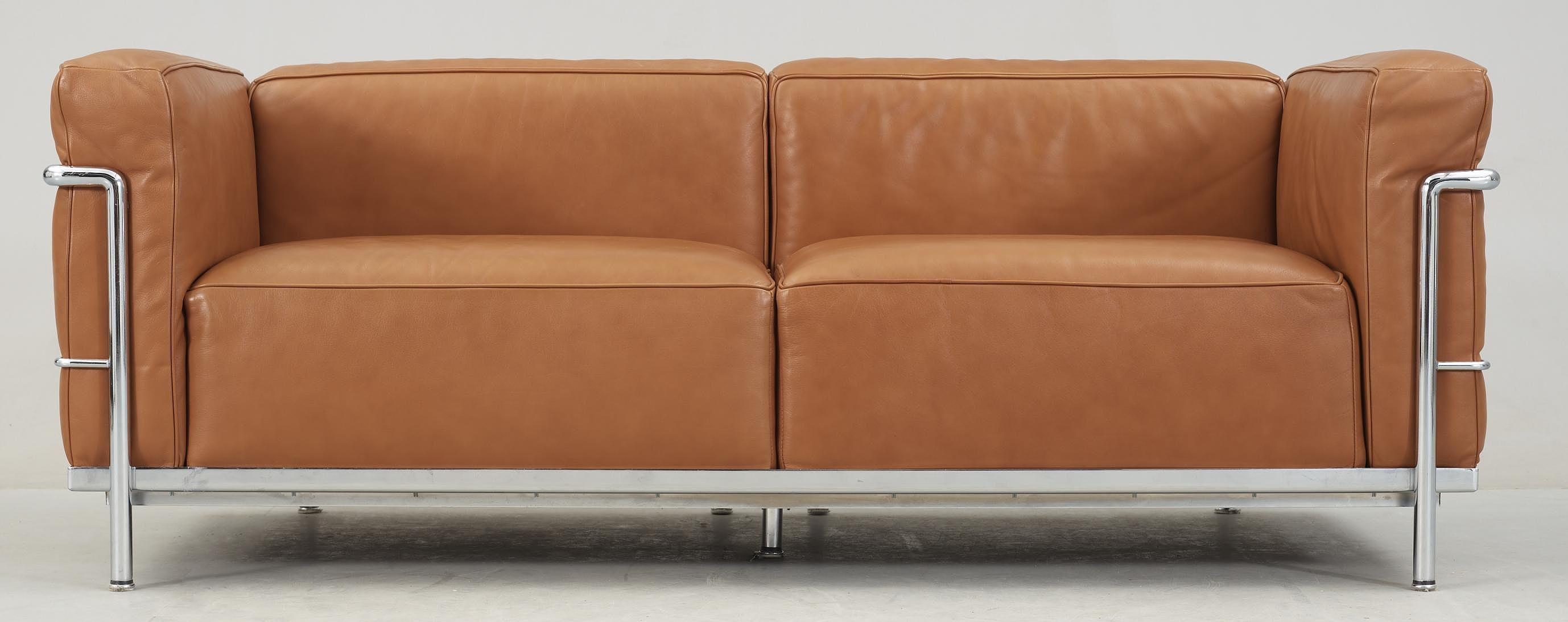 Sofa Le Corbusier Lc 3 Marked Cassina Cognac Colored Leather