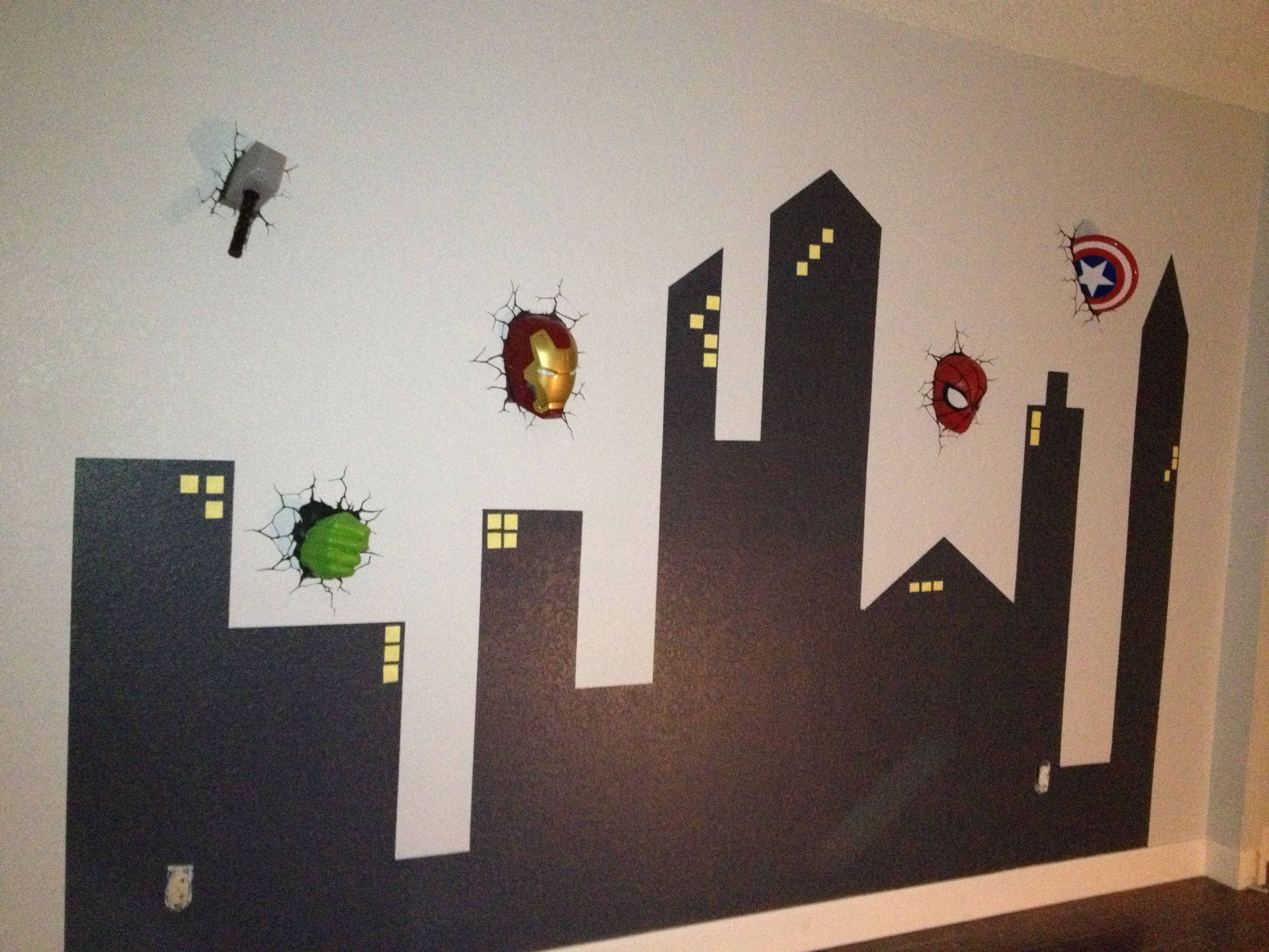 A Boy S Dream Superhero Playroom With Gotham City Skyline Yellow Amp Glow Paint For Windows And