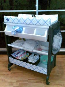 Portable Ba Changing Table With Wheels And Attached Storage Plus Pertaining To Proportions 1200 X 1600 Baby Obviously