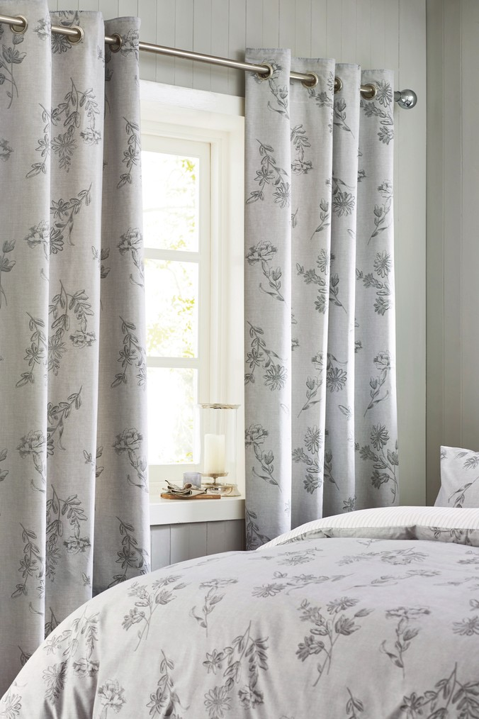 Next Floral Blackout Lined Eyelet Curtains Grey