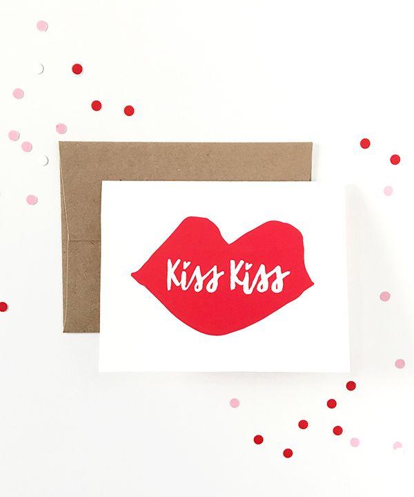 Kiss Kiss Printable Valentine's Day Card.