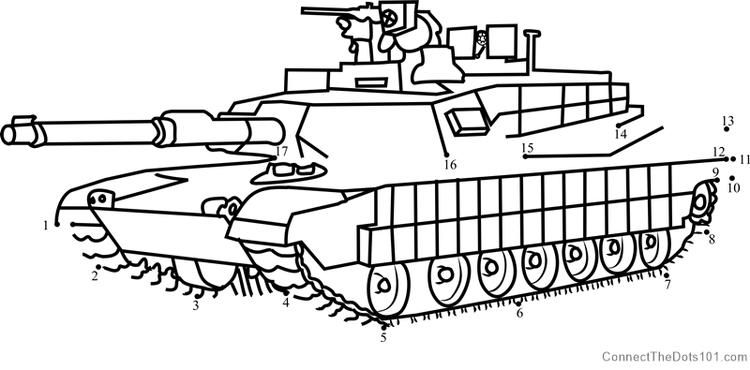 M1 Abrams Army Tank Dot To Dot Army Tanks Printable Coloring Pages Dots