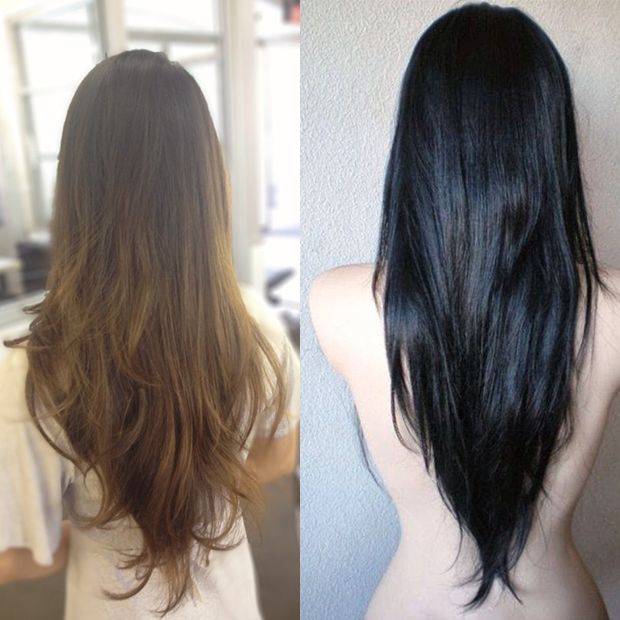V Cut Hairstyle For Long Hair In The Back Hairstyle