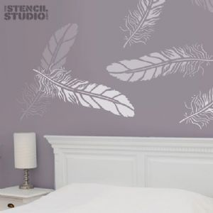 Fabulous Feather Stencil from The Stencil Studio-- I'd like to stencil my dining room drapes with feathers