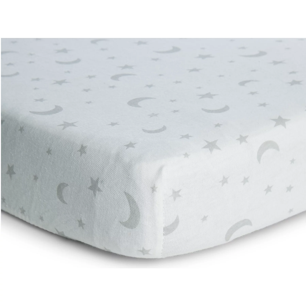 Moon And Stars Moses Cot Bed Fitted Sheets 2 Pack Baby