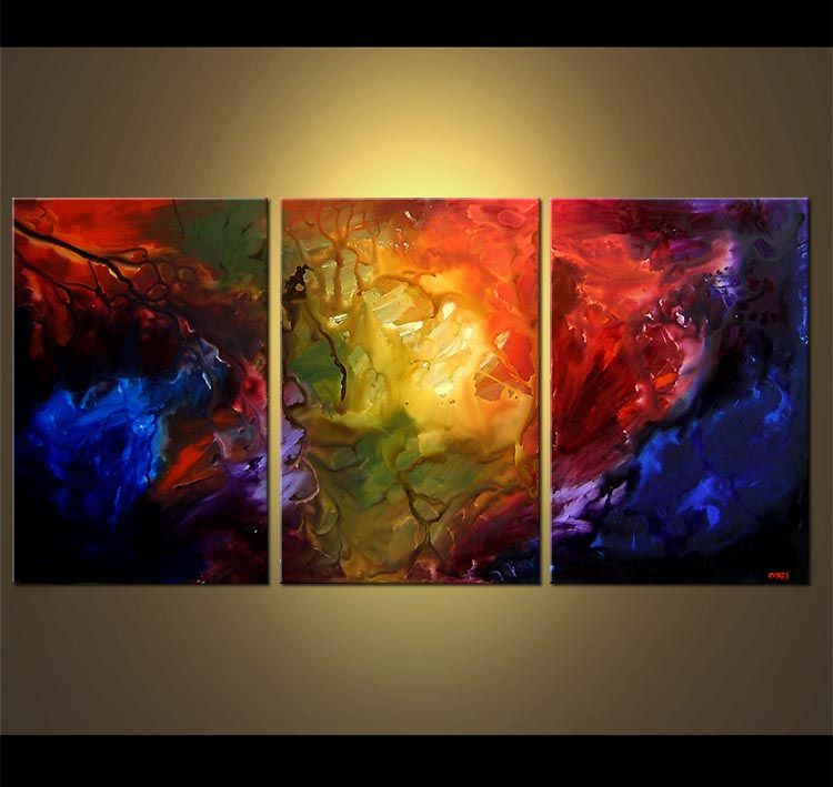 Dune Painting Abstract Red Blue Yellow Large Triptych 4046