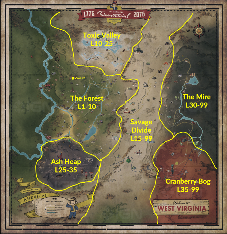 Fallout 76 Zone Map (with recommended level range ...
