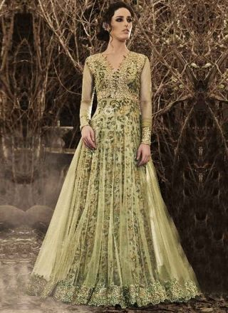 ad142404bf44 Buy designer latest collection of Long anarkali suit designed with  embroidery work in suit online. Olive Green Embroidery Work Net ...