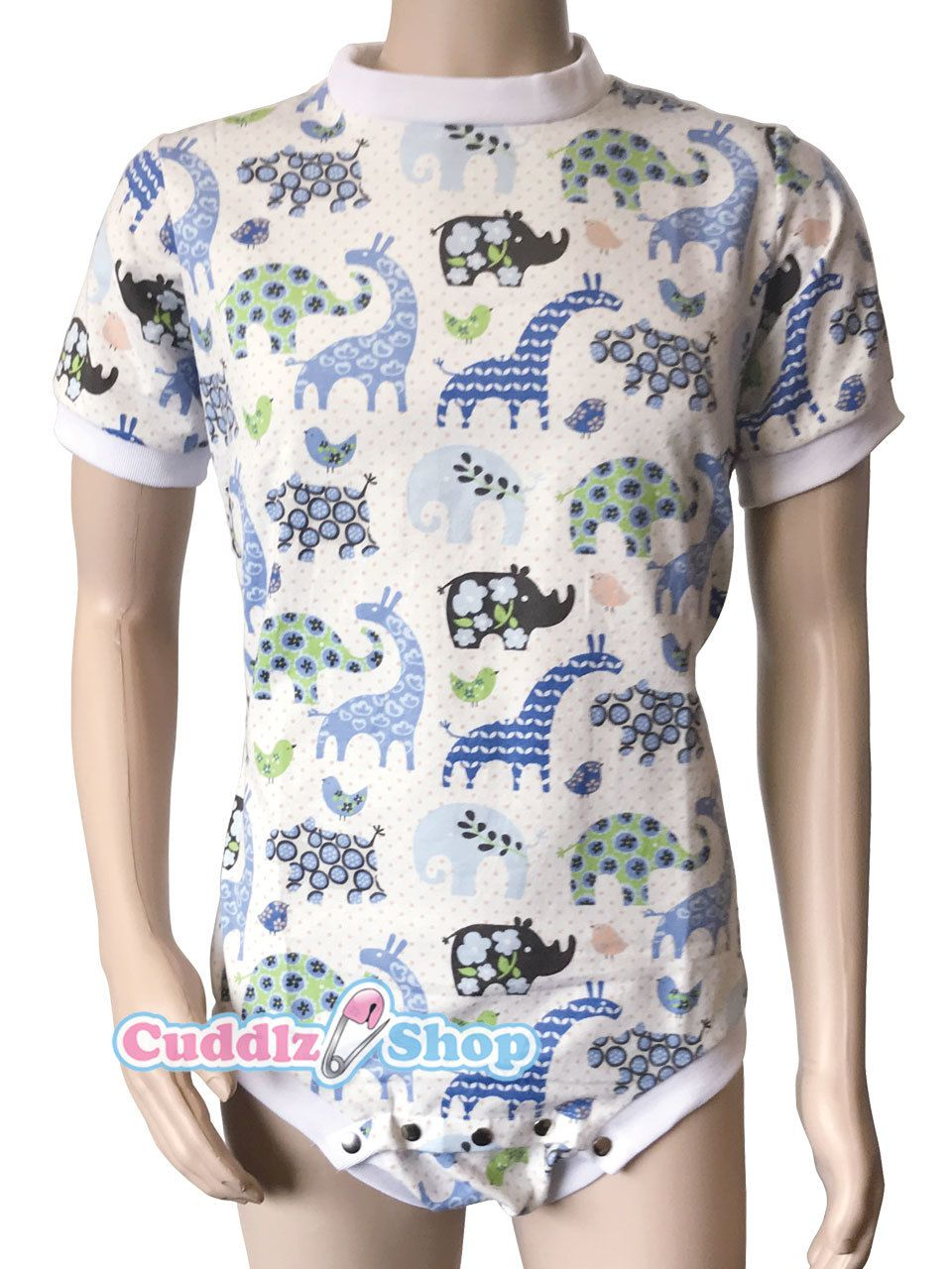 f088d4a9c9e Blue Cuddlz Colourful Safari Animal Pattern Cotton onesie for adults ABDL  Adult Baby Body Suit