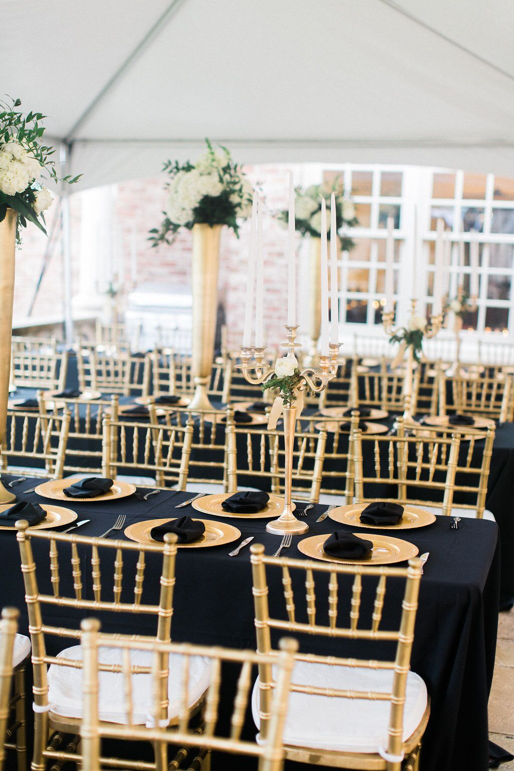 Black and Gold Wedding Table  Black and Gold  White and Green Wedding Flowers