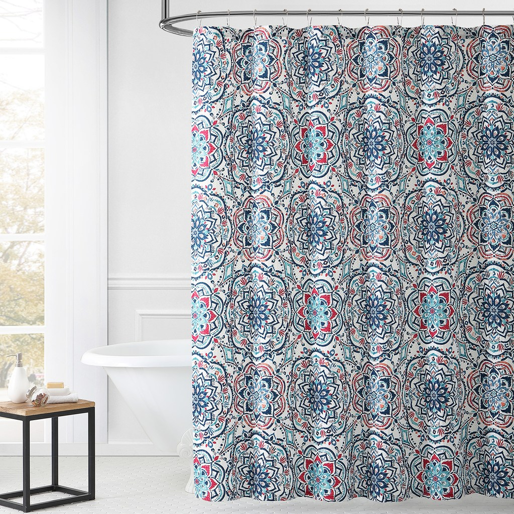 1888 Mills Leila Multi Color Shower Curtain Blue 72x72 Fabric