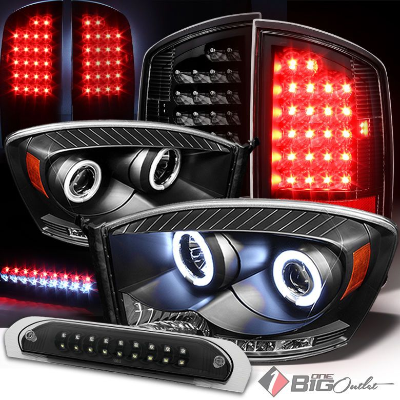 For 07 08 Ram 1500 07 09 2 3500 Blk Pro Headlights Led Tail Light 3rd Brake Ram 1500 Dodge Ram 1500 Tail Light