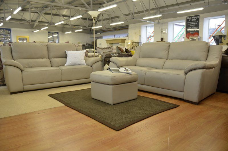 Leather Sofas & Suites : Degano Two Piece Suite and Footstool