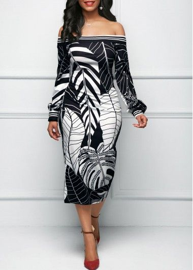 0eb2cf7f39f Leaf Print Off the Shoulder Black Sheath Dress