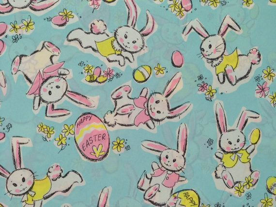 Vintage gift wrapping paper happy easter by thegooseandthehound vintage gift wrapping paper happy easter paper easter bunny fun pastel bunnies and easter eggs 1 unused partial sheet easter gift wrap negle Image collections