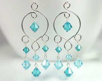 Blue and purple chandelier earrings wire by jessicaluujewelry items similar to blue green chandelier earrings wire wrapped jewelry blue topaz earrings sterling silver earrings swarovski crystal chandelier earrings on mozeypictures Gallery