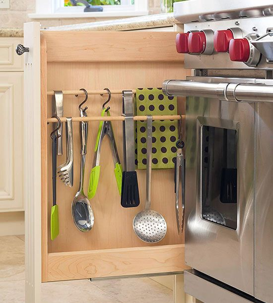 Hanging In A Cabinet Install Wooden Rods Into Shallow To Make An Easy Spot Hang Utensils Similar The Over Range Option Simply Use S