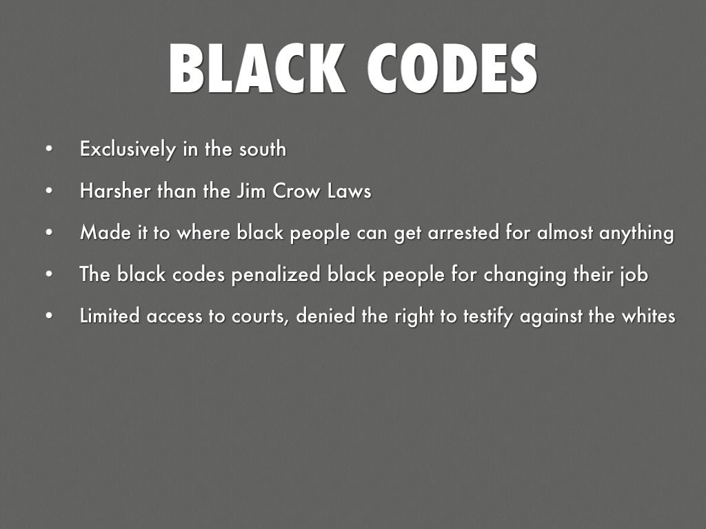 an analysis of black codes by lincoln Black codes to jim crow additional  lincoln and the meaning of emancipation   jim crow and the fight for american citizenship seminar schedule.