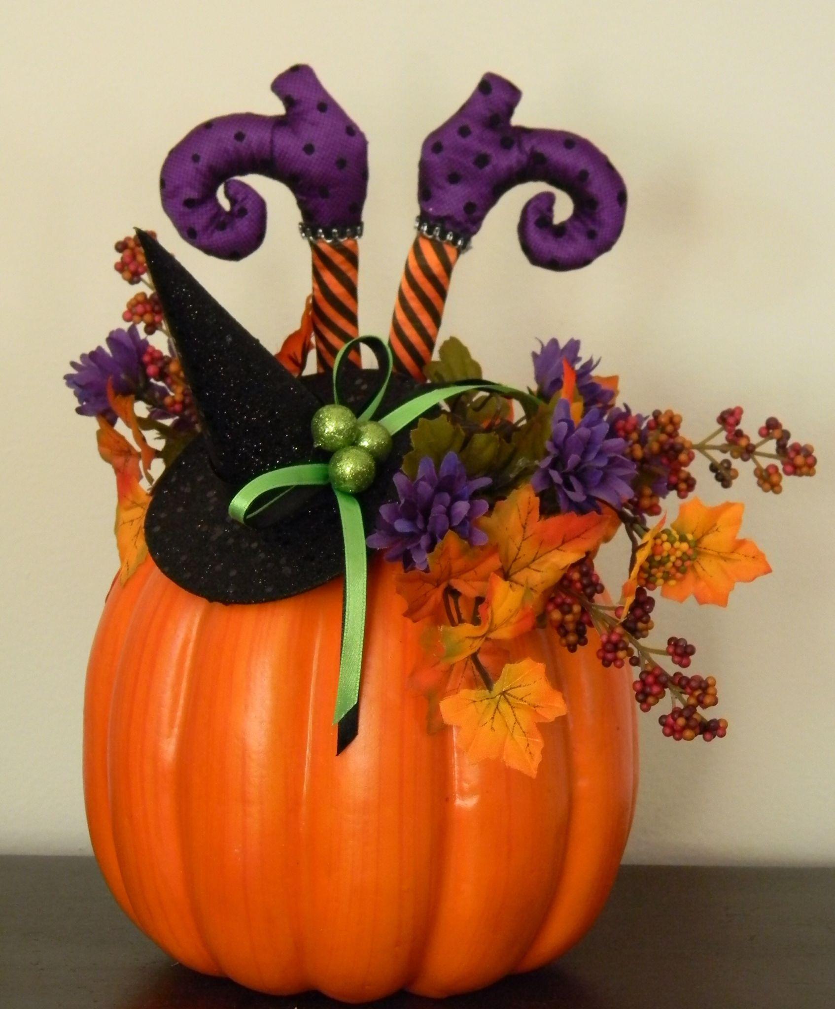 Fall Halloween Decor Witch Feet In A Pumpkin Halloween