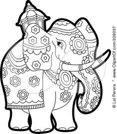 royalty free rf clipart illustration of a coloring page outline of a pageant elephant by lal perera