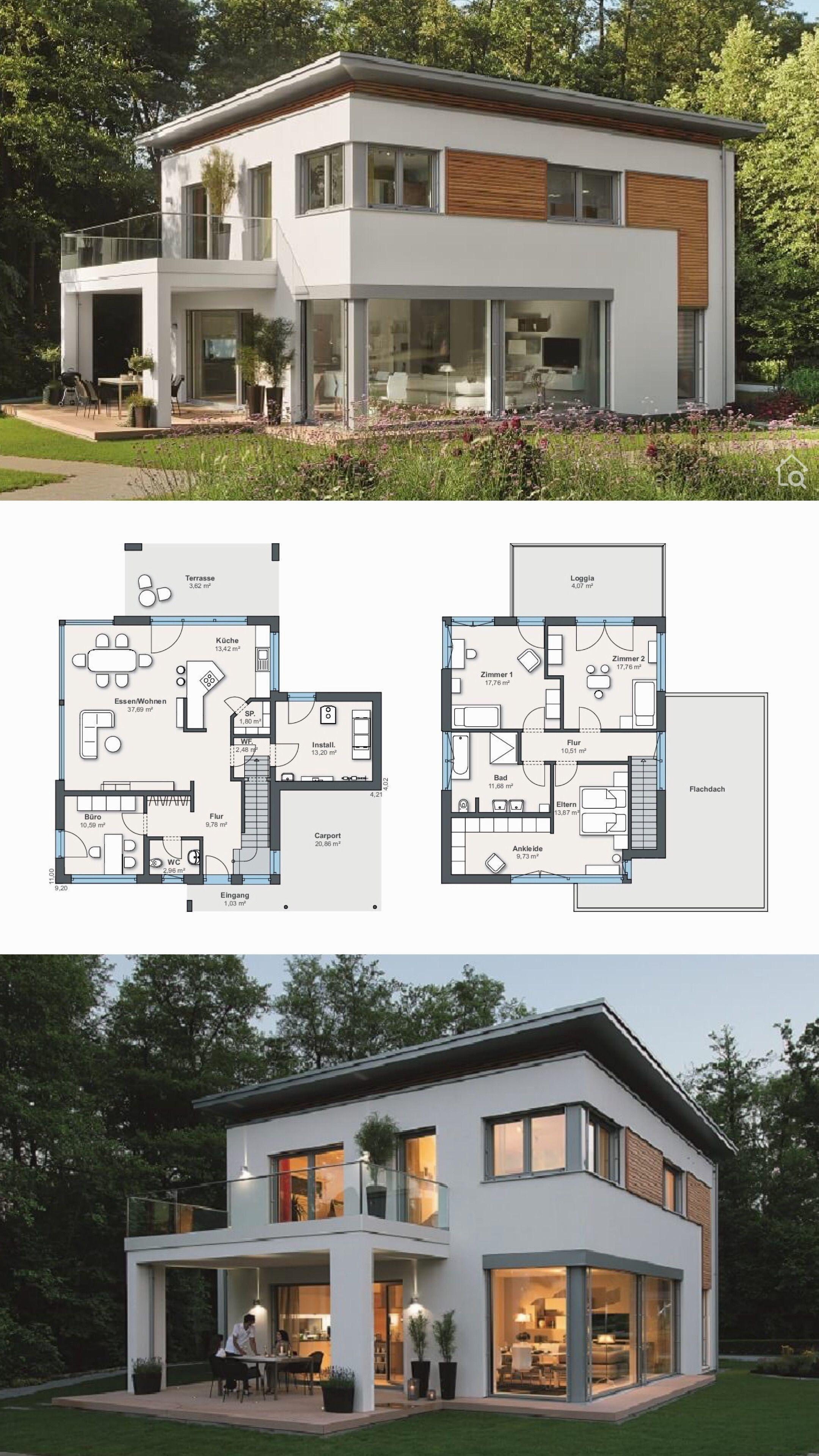 L'énergie efficace, maison préfabriquée moderne avec toit plat de ...