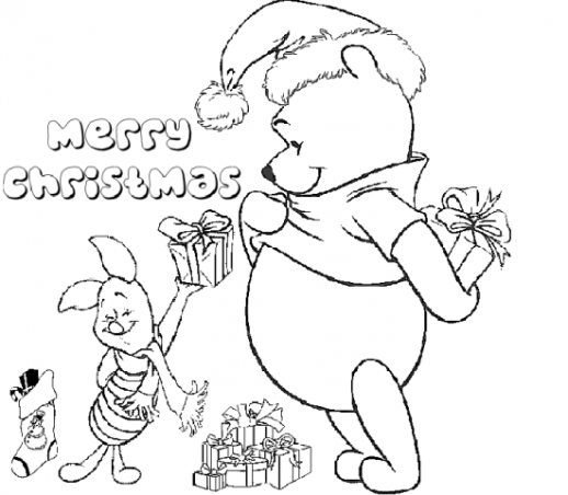 Winnie The Pooh And Piglet Coloring Pages Of Christmas Merry Christmas Coloring Pages Disney Coloring Pages Printable Christmas Coloring Pages