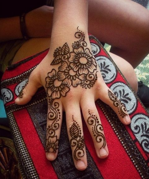 Flower Mehndi Designs For Back Hands : Cute henna designs for kids women fashion pinterest