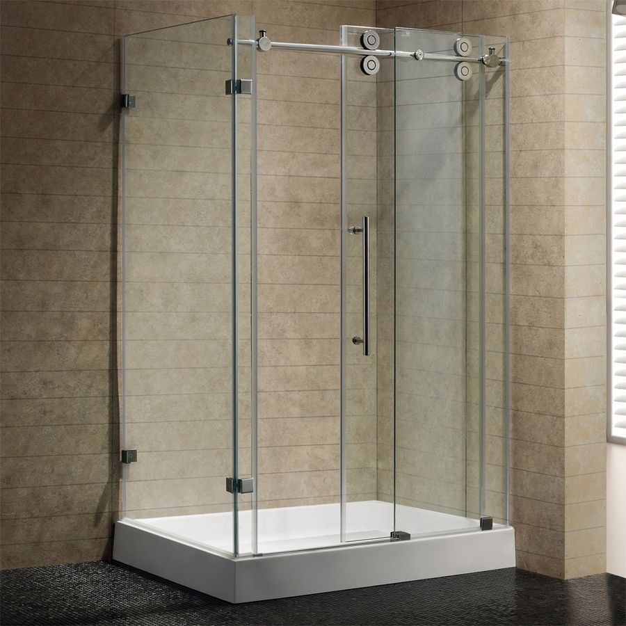 Shop Vigo Frameless Showers Stainless Steel Acrylic Floor Rectangle 3 Piece Corne Frameless Glass Shower Enclosure Frameless Shower Enclosures Shower Enclosure