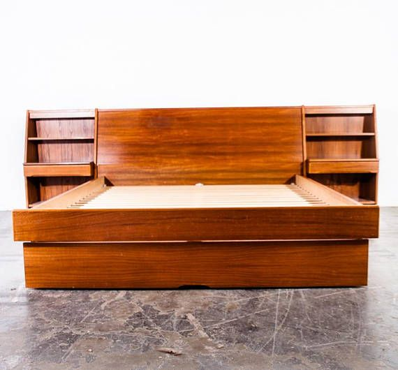 Absolutely Beautiful Teak Headboard With Built In Side Tables By