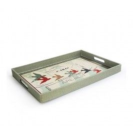 Notions Postcard Rectangle Serving Tray with Burlap Finish
