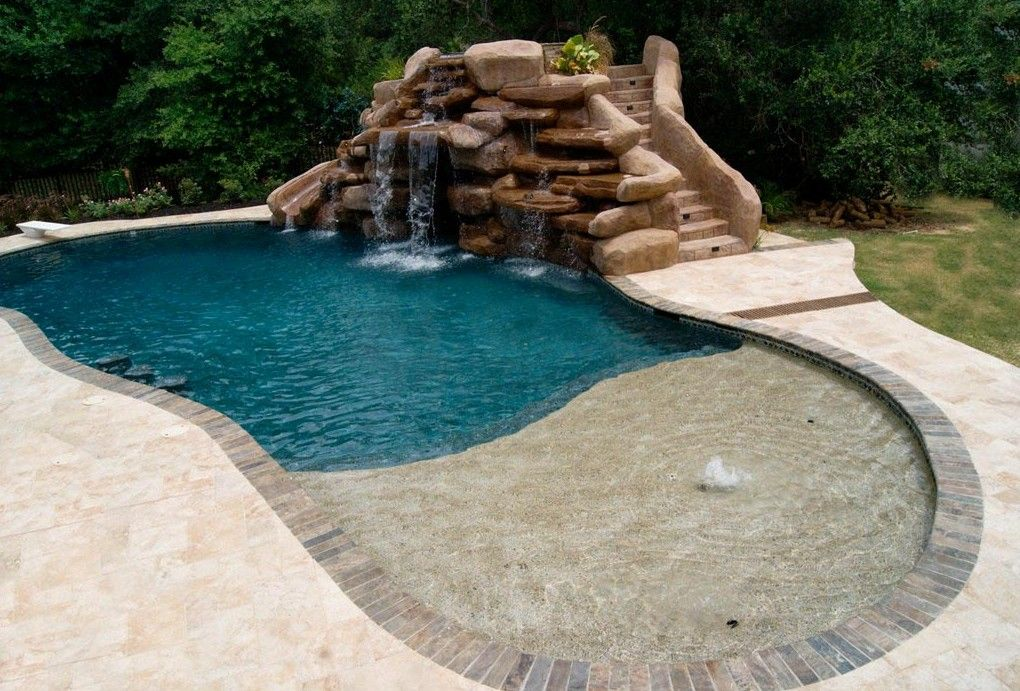 Small Inground Pool With Rock Waterfall Small Inground Pool Custom Swimming Pool Swimming Pools Inground