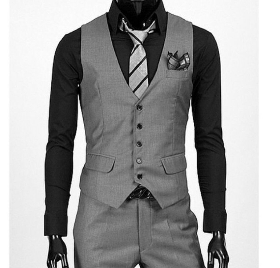 Grey vest and pants for winter formal formalities pinterest