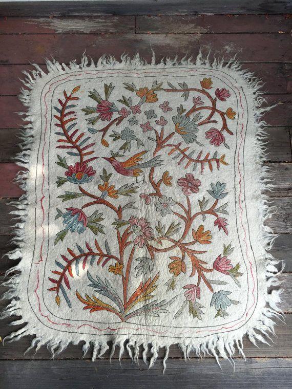 Wool Handwoven Crewelwork Rug