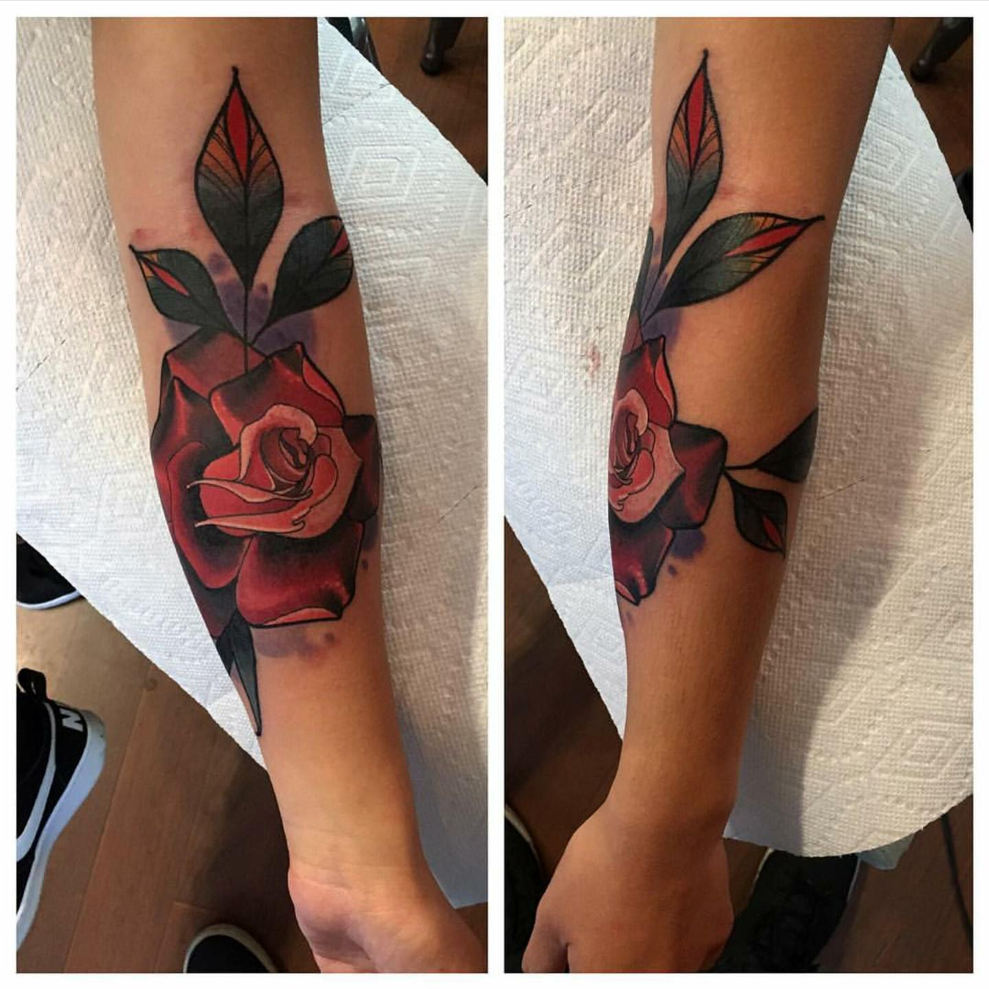 Rose Tattoo By Grant Lubbock At Red Baron Ink East Village Ny Tattoos Rose Tattoo Rose Tattoos