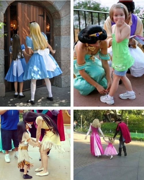 """I love the little girl getting her shoes tied by Jasmine. Her face is like """"Do you know who this is?!"""""""