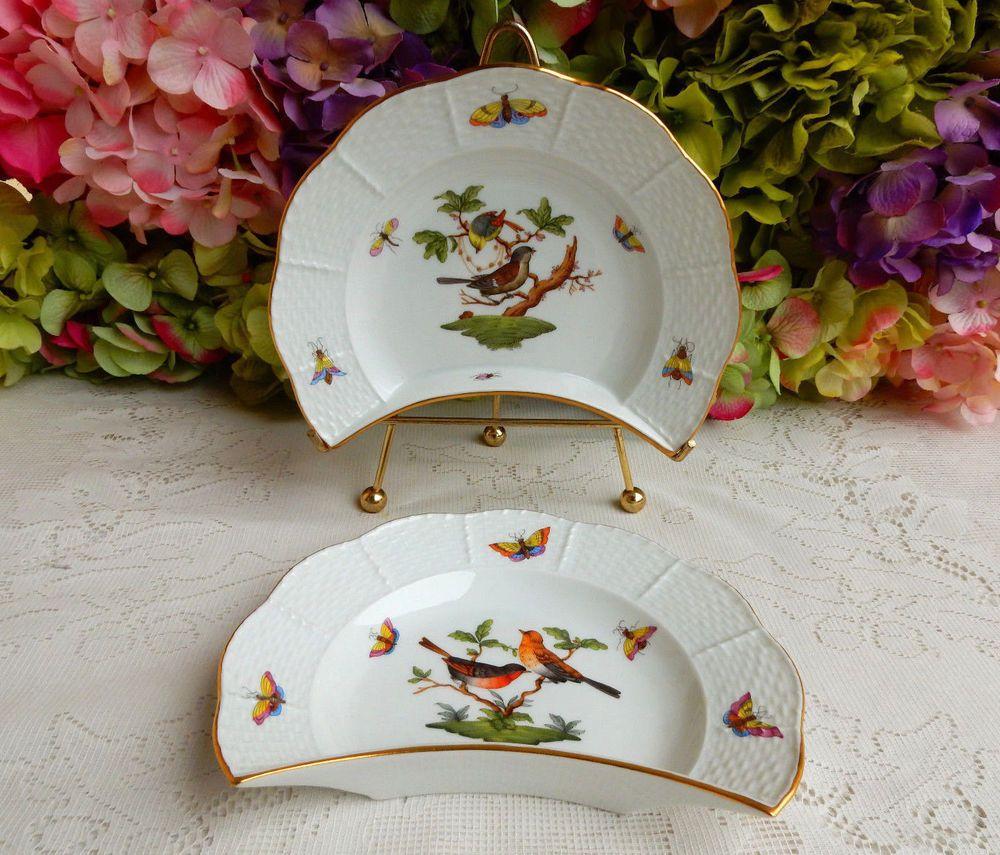2 Beautiful Herend Porcelain Crescent Salad Plates ~ Rothschild Bird #Herend & 2 Beautiful Herend Porcelain Crescent Salad Plates ~ Rothschild ...