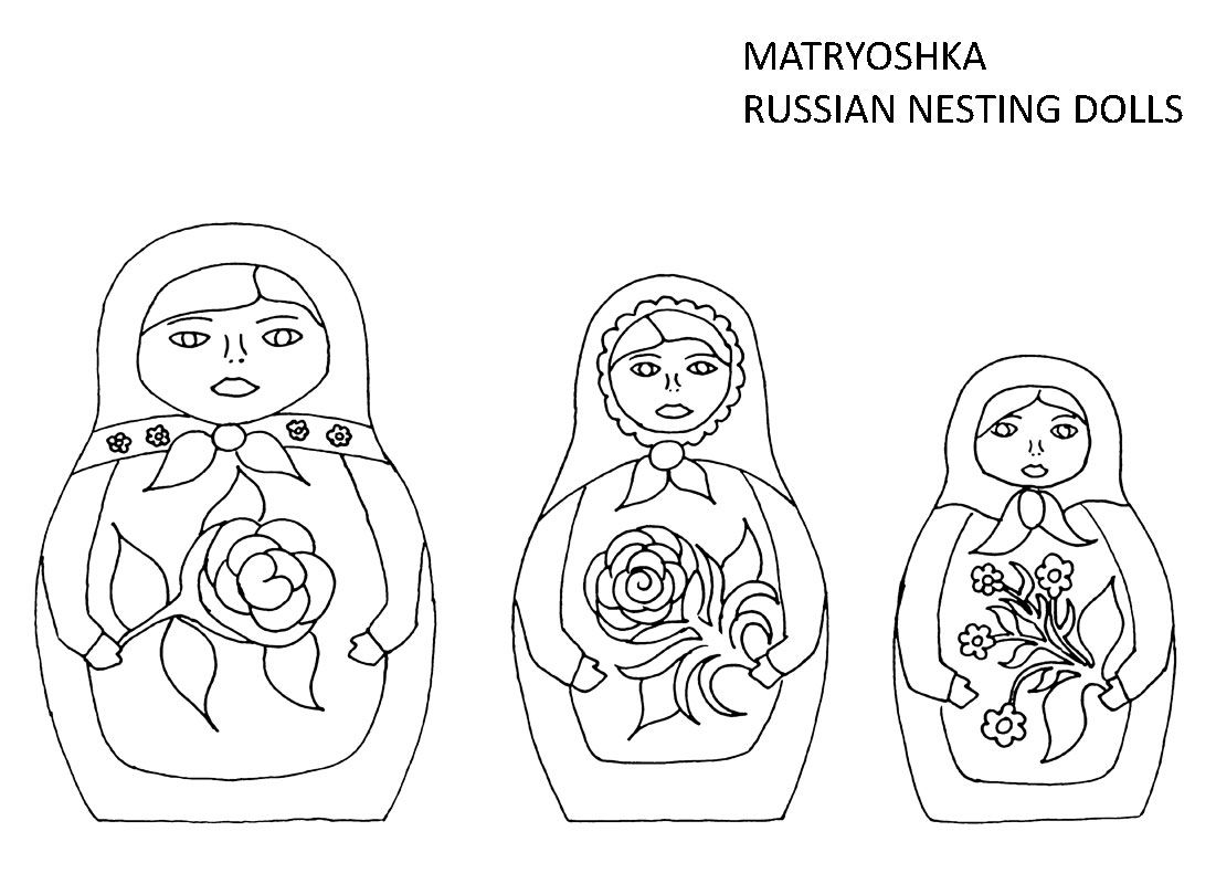 Nesting Doll Coloring Pages Free Colouring Sheet Of Three