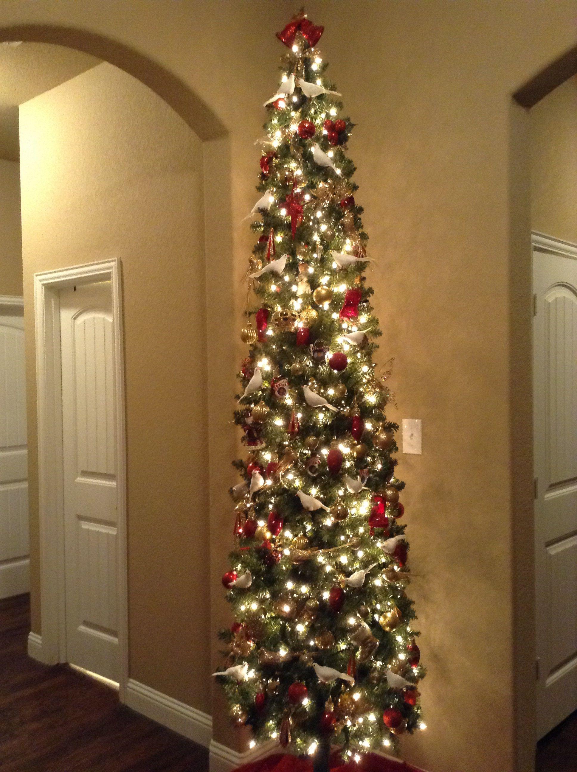 Slim Christmas Tree Decoration. Gold, Red & White Doves
