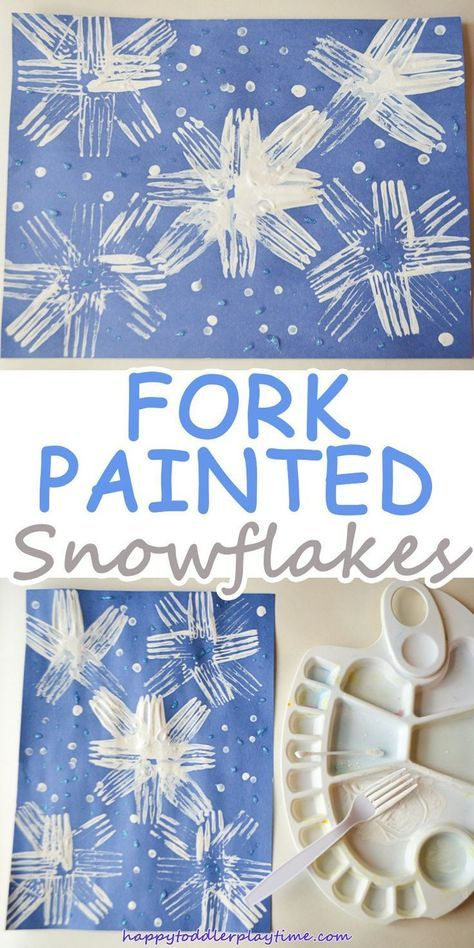 FORK PAINTED SNOWFLAKES - HAPPY TODDLER PLAYTIME