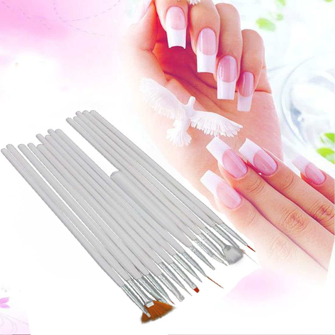 15pcs White Nail Brush Painting Pen Design Tool Set Nail Art UV Gel ...